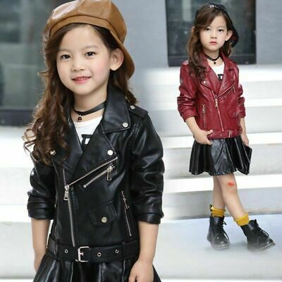 Cool Baby Girls Sport Biker Coats Outwear Kids Leather Jackets Motorcycle Jacket • 21.51£