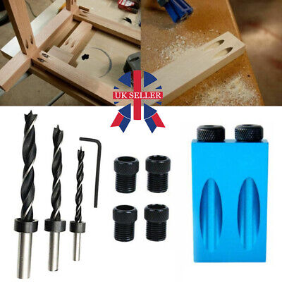 15° Guide Angle Drill Bit Locator Oblique Hole Positioner Woodworking Tool Set • 6.88£
