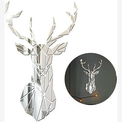 3D  Deer Mirror Wall Stickers Self Adhesive Big Decorative Mirror DIY Home Decor • 7.86£
