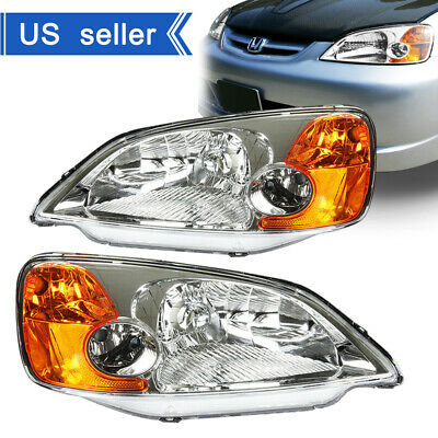 $61.99 • Buy For 2001-2003 Honda Civic Chrome Housing Amber Corner Headlights Assembly Lamps