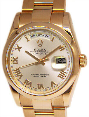 $ CDN30995.88 • Buy Rolex Day-Date 18k Rose Gold Pink Roman Dial Mens 36mm Automatic Watch 118205