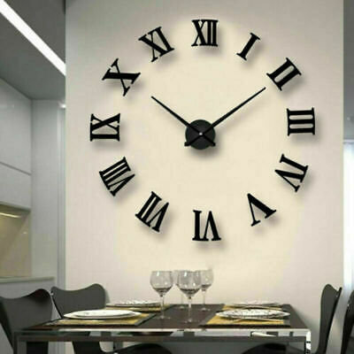 DIY 3D Large Number Mirror Wall Clock Sticker Decor For Home Office Kids Room • 15.98£