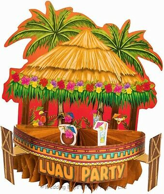 10  Luau Tiki Bar Honeycomb Hawaiian Table Centrepiece Tropical Party Decoration • 3.49£