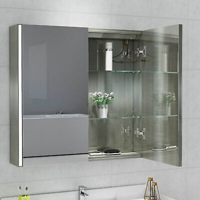 New Bathroom LED Light Strip Mirror Cabinet With Touch Sensor Switch • 111.99£