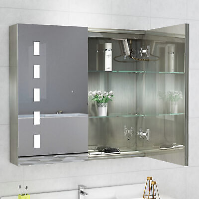 New Bathroom LED Mirror Cabinet With Touch Sensor Switch And Shaver Socket • 115.99£