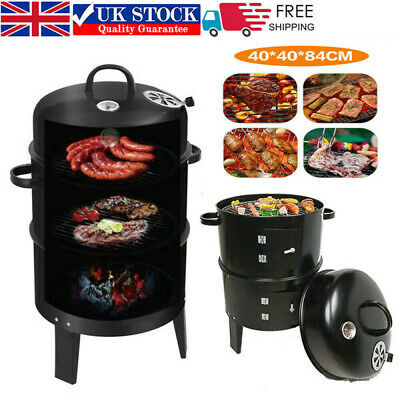 Portable Smoker BBQ Charcoal Grill Outdoor Barbecue Meat Food Cooking Drum Oven • 41.95£