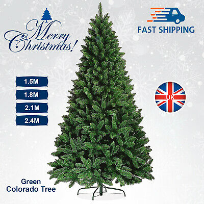 Green Artificial Christmas Tree Bushy Xmas With Stand Colorado Spruce 6/7FT UK • 30.99£