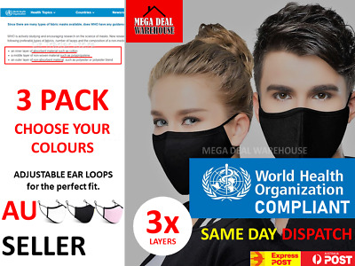 AU12.95 • Buy 3 PACK Washable Reusable TRIPLE LAYER Mouth Face Mask Cover Protective Masks