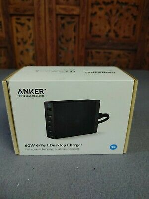 AU47.70 • Buy Anker PowerPort 60W 6-port USB Charging Hub Desktop Wall Charger A2123, Black