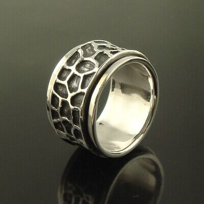 Mens Womens 925 Sterling Silver Spinning Worry Band Thumb Ring 15mm Size T • 32.50£