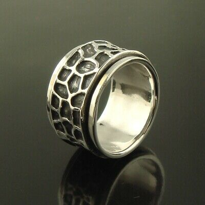 Men Womens 925 Sterling Silver Spinning Worry Band Thumb Ring 15mm Size V Size W • 32.50£