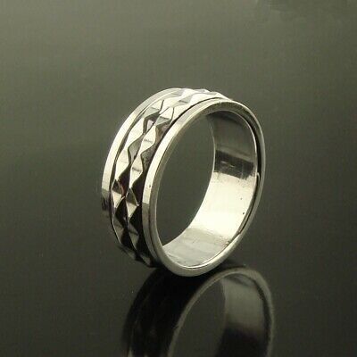 Mens Womens 925 Sterling Silver Double Spinning Worry Thumb Ring 8mm Size W • 23.50£
