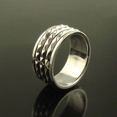 Mens Womens 925 Sterling Silver Triple Spinning Worry Thumb Ring Size V Size W • 26.95£