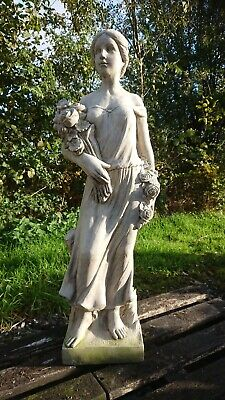 🇬🇧stone Garden Large Rose Lady Statue Woman With Flowers Ornament 💐🌿🍂 • 160£