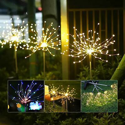 2X 120LED Garden Path Lights Solar Power Firework Lamp Starburst Stake Outdoor • 12.99£