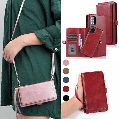 $ CDN16.71 • Buy Crossbody Card Wallet Magnetic Holder Bag Flip PU Leather Case Cover For Phone