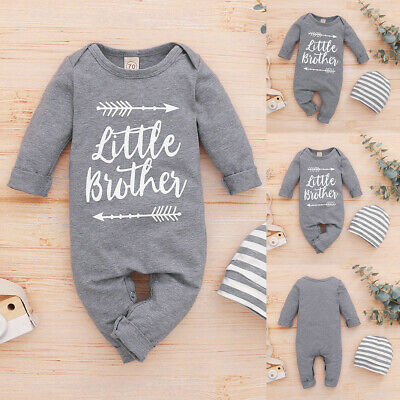 Newborn Baby Boys  Little Brother  Outfits Long Sleeve Romper + Hat Clothes Suit • 9.49£