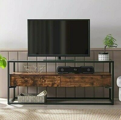 £139.99 • Buy Industrial Style TV Stand Vintage Rustic Unit Media Cabinet Glass Top Lowboard