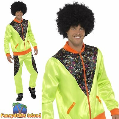 Retro Shell Suit Neon Green Scouse Tracksuit 80's Mens Fancy Dress Costume • 22.49£