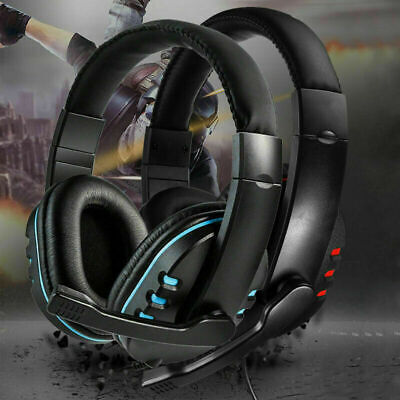 3.5mm Gaming Headset Headphones With Mic For PC Laptop PS4 Xbox One Switch UK • 10.50£