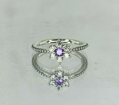 PANDORA - Purple Forget Me Not Silver Ring - PICK SIZE • 20£