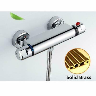 Thermostatic Exposed Bar Shower Mixer Valve Tap Chrome Bottom 1/2  Outlet Modern • 21.99£