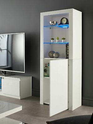 Tall White High Gloss Display Glass Cabinet Shelving Bookcase Door Unit Blue LED • 134.99£