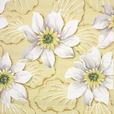 £39.85 • Buy 1950s Floral Vintage Wallpaper Large Gray And Yellow Tropical Flower Blooms