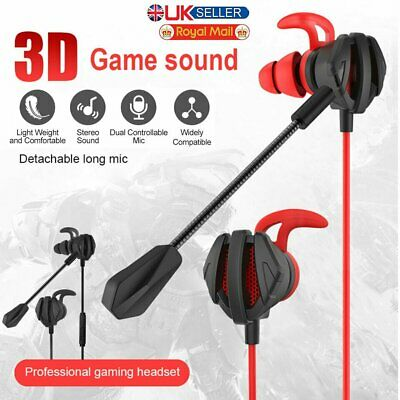 3.5mm Gaming In-Ear Stereo Headset Headphone Mic Earphone For Switch PS4 Laptop • 10.99£