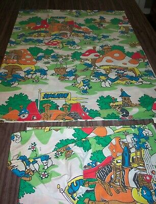 VINTAGE Hanna-Barbera THE SMURFS TWIN SIZE SHEET SET FABRIC JCPENNEY • 54.38£