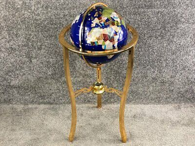Large Navy Blue Luxury Gemstone Rotating Lapis Globe On Gold Stand With Compass  • 199.99£