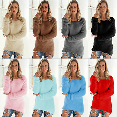 Women Winter Fleece Fluffy Sweater Jumper Ladies Warm Solid Pullover Tops Blouse • 8.99£