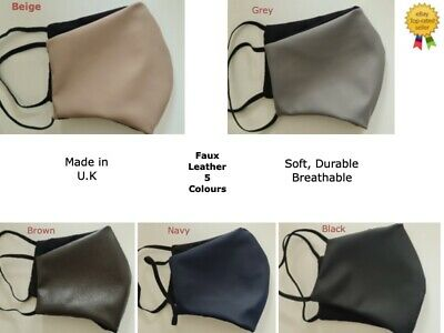 Reusable Fashionable Black Soft Leather Face Mask With Cotton Lining  • 4.95£