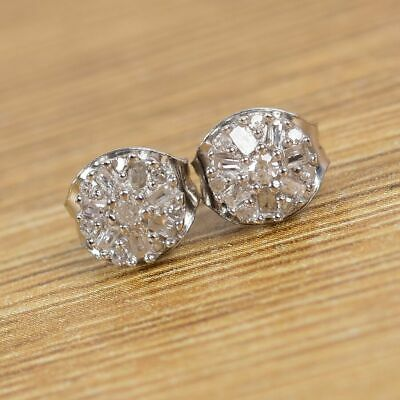 £27.99 • Buy Diamond Cluster Earrings With Push Back In Platinum Plated Sterling Silver
