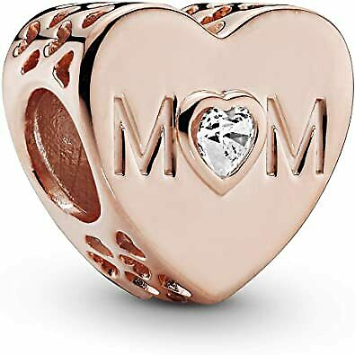 Pandora Jewelry Clear Mom Heart Cubic Zirconia Charm Bead Rose Gold Pouch • 17.77£