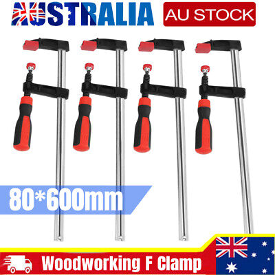 AU55.69 • Buy 4pcs Woodworking F Clamps Bar Clips Quick Slide Tool 80*600mm Heavy Duty Steel
