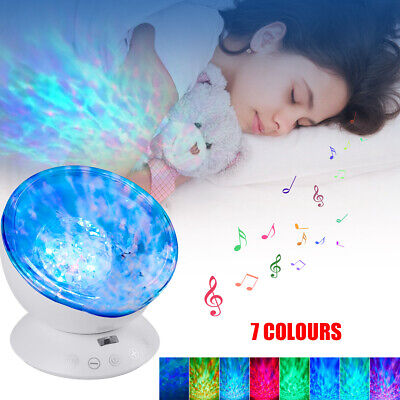 Relax Ocean Wave Music LED Night Light Projector Remote Lamp Baby Sleep Gift UK • 11.99£