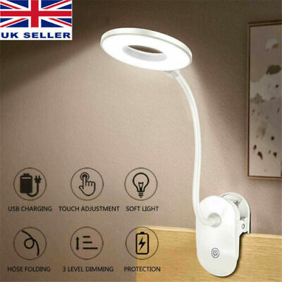£7.95 • Buy USB Flexible Clamp Clip On LED Light Reading Table Desk Bed Bedside Night Lamp