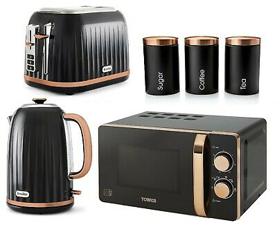 £239.99 • Buy Rose Gold Breville 2-Slice Toaster & Kettle Tower Microwave And Canisters BLACK