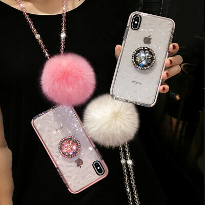 AU17.99 • Buy For IPhone 12 11 Pro XS Max XR 7 8 Girls Diamond Holder Case W/ Plush Ball Strap