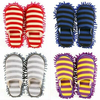 Winter Floor Cleaning Slippers Stripe Scuffs Mules Microfiber Mop Dusting Shoes • 3.09£