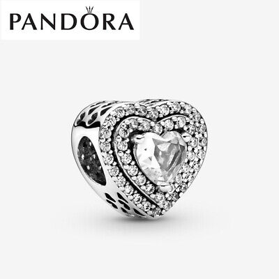 Genuine Silver Pandora Sparkling Levelled Hearts Charm With Gift Box 799218C01 • 17.99£