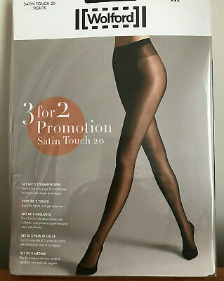 3 Pairs Of Wolford Satin Touch 20 Tights, Sand, 20 Denier, Large, BNWT • 35£