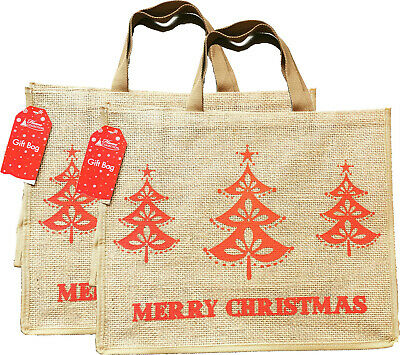 £9.99 • Buy 2 X Large Christmas Jute Bags Shopping Bag Natural Jute Tote Bag With Lining