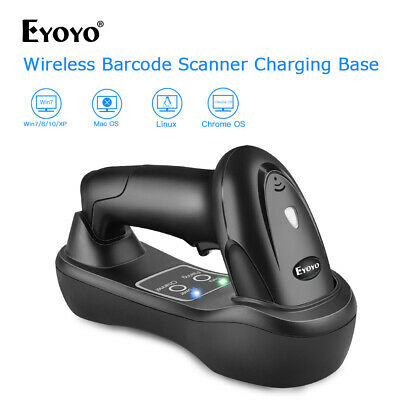 Handheld 1D Wireless Barcode Scanner With USB Charging Base Fits Computer Linux • 41.66£