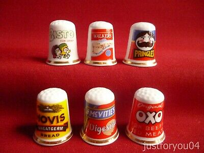 Set Of 6 Advertising Oxo,Hovis,Bisto,Walkers, (Gold Gilded) Collectors Thimbles  • 6.99£
