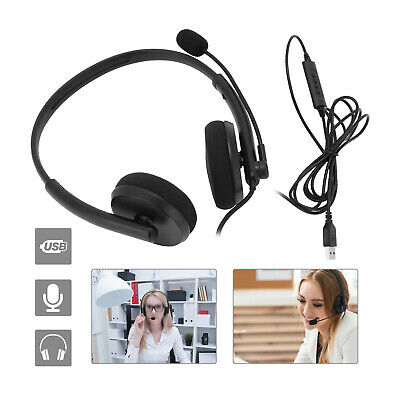 Headsets Microphone For Skype Call PC Laptop USB Wired MIC Computer Headphones • 10.99£