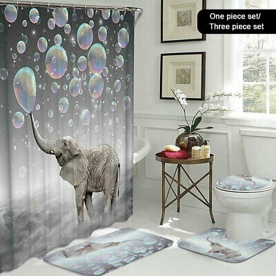 3D Printing Elephant Bubbles Waterproof Bathroom Shower Curtain Toilet Cover. • 11.99£