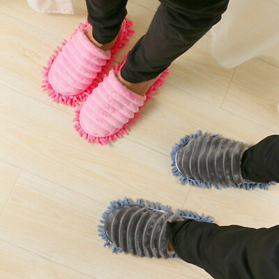 A Pair Mop Slippers Lazy Floor Foot Socks Shoes Quick Polishing Cleaning Dust • 3.27£