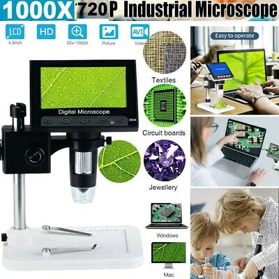 1000X4.3  HD LCD Monitor Electronic Digital Video Microscope 8 LEDs Magnifier • 32.99£